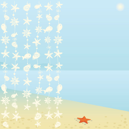 ooze: Summer background with starfish
