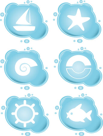 Vacation icons on blue bubbles