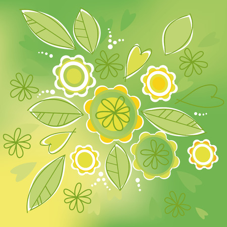 Green abstract background with flowers Vector