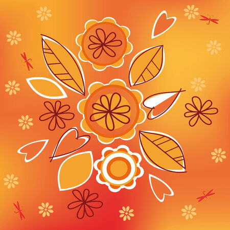 Orange abstract background with flowers Vector
