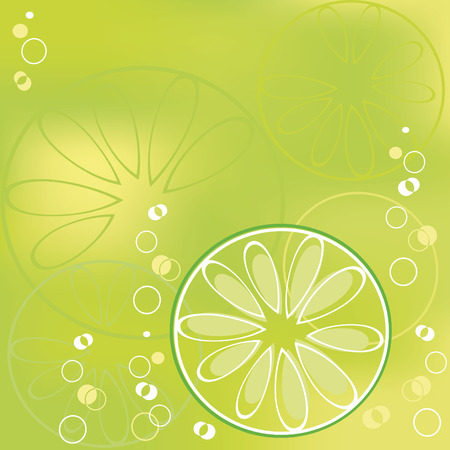 lime slice  in bubbly drink