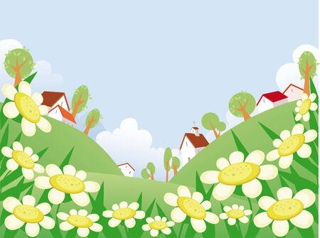 Día de verano, el paisaje con el espacio libre para su texto Ilustración de vector