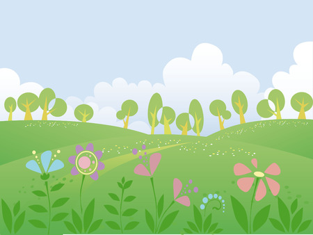 Summer day landscape with free space for your text Stock Vector - 4918194