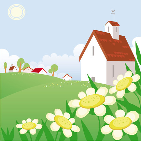 Summer day landscape with beautiful  house Stock Vector - 4918203