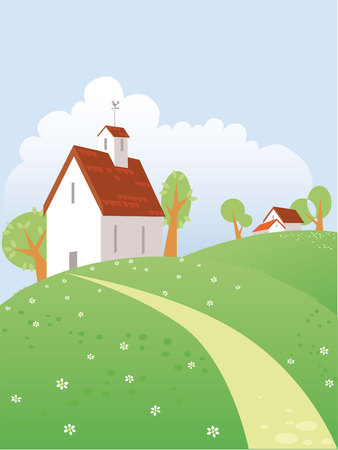Summer day landscape with beautiful  house Vector