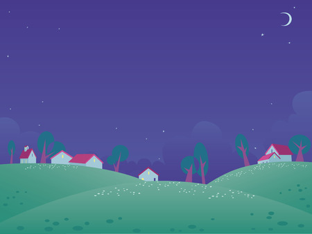 Summer night  landscape with free space for your text Vector