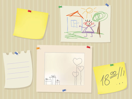 Wall with yellow notes and childrens drawing Иллюстрация