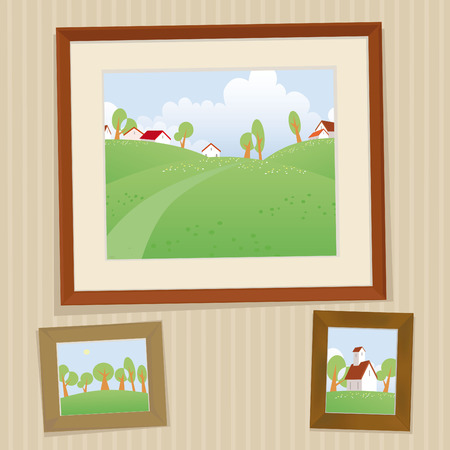 Retro frameworks with summer landscape Иллюстрация