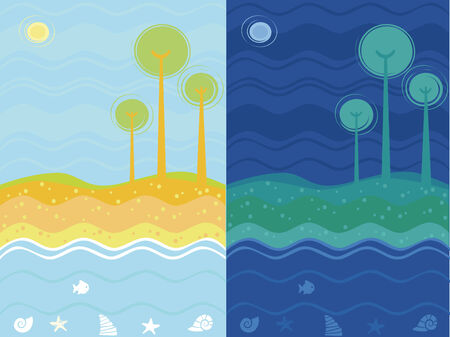 Day and night sea background Stock Vector - 5106968