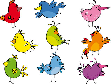 Set of funny small birdies Stock Vector - 5238149