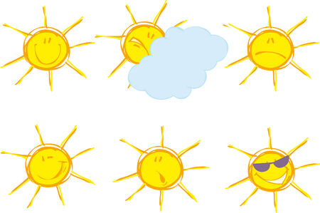 Set of sunny emotions Stock Vector - 5238144