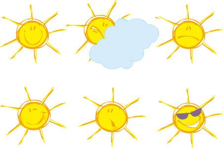 annoying: Set of sunny emotions