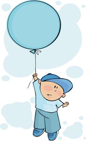 Little boy flies on a blue balloon