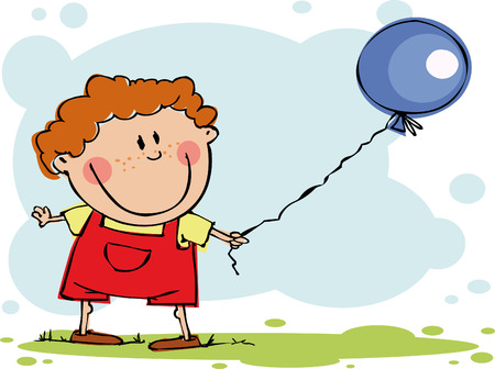 Funny boy with balloon Illustration