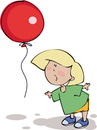 Funny boy with balloon Illustration