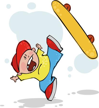 Cool skateboarder falling down Vector