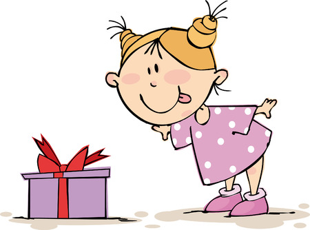 wish: Little funny girl with gift