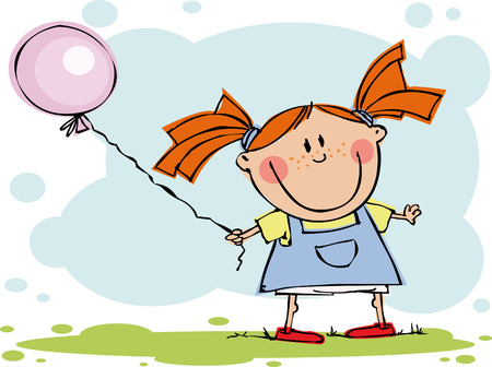 Funny girl with balloon Vector