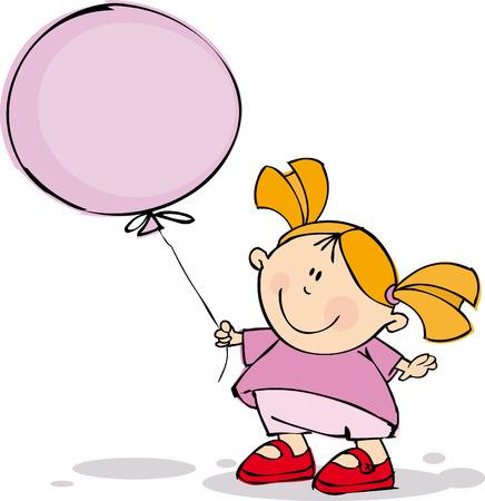 Funny girl with balloon Stock Vector - 5351161