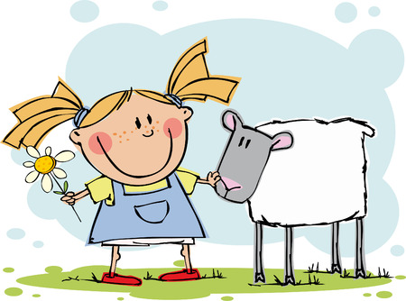 Funny girl with flower and sheep Stock Vector - 5351134