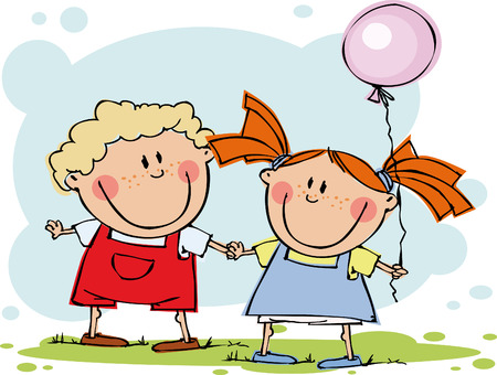 Funny kids with balloon Illustration