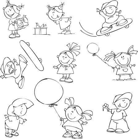 Vector set of funny kids Stock Vector - 5421828