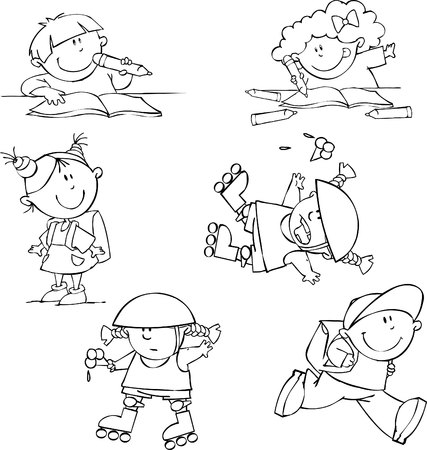 Vector set of funny kids