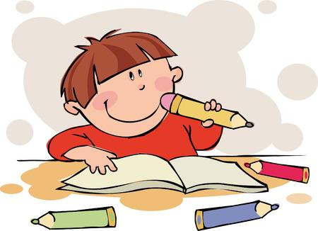 Het grappige jongen doet zijn huiswerk