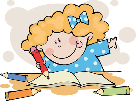 develop: The funny girl doing his homework  Illustration