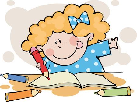 The funny girl doing his homework  Illustration