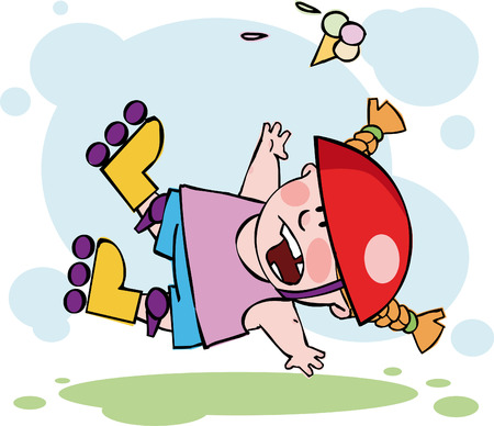 The funny roller falling down Illustration