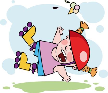 The funny roller falling down Иллюстрация