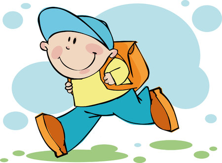 voortgezet onderwijs: Funny jongen loopt in school Stock Illustratie
