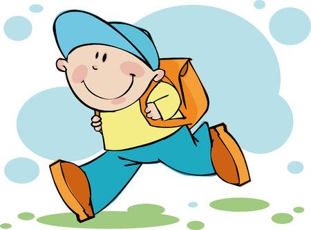 niño con mochila: Funny niño corre en la escuela