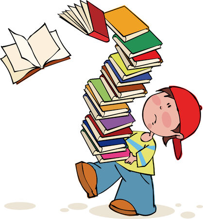 stacks: Schoolboy with huge pile of books