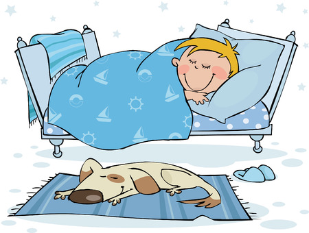 The little boy sleeps in the bed Vector