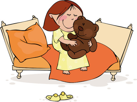 The little girl sits in the bed with a favourite toy Vector