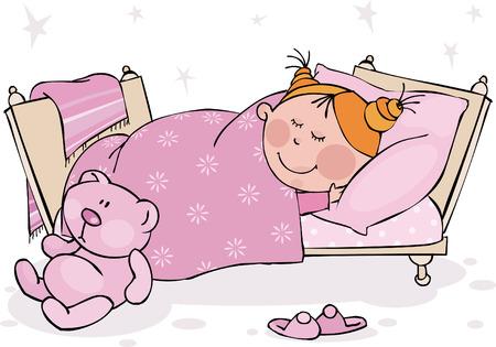łóżko: Little girl jest w stanie uśpienia w łóżka