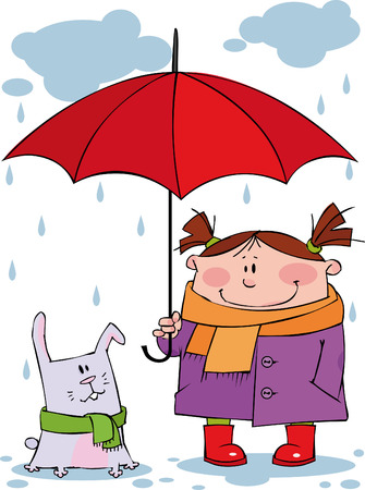 Little girl and rabbit under a red umbrella