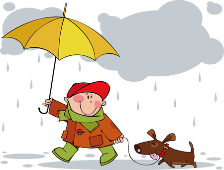 Little boy and a dog walking in the rain Illustration