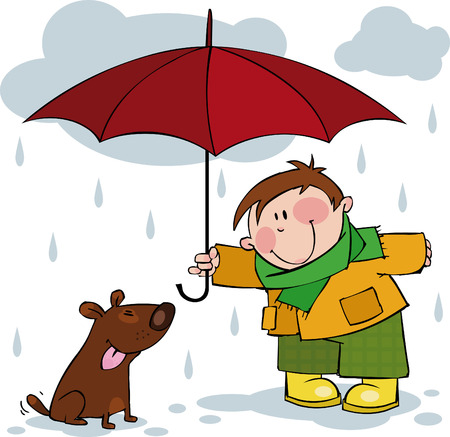 Little boy and a dog walking in the rain Ilustração
