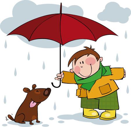 Petit garçon et un chien marche sous la pluie