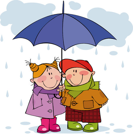 rain cartoon: Little girl and boy under a blue umbrella