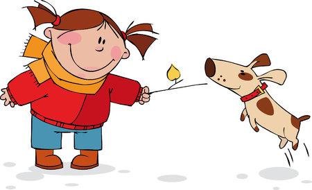 niños caminando: Chica jugando con perro Vectores