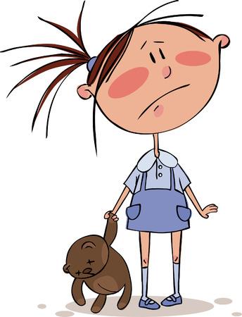 ojos tristes: Chica triste con el oso de peluche colgando