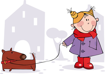 Little girl and a dog walking  Vector