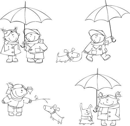 set of children walking with friends  Vector