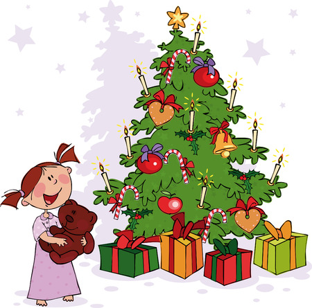 teddy bear christmas: Little girl and Christmas Tree Illustration