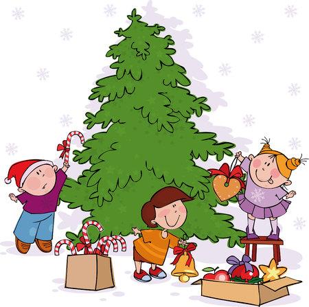 Kleine Kinder schmücken einen Weihnachtsbaum.