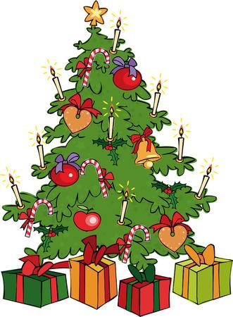 apple christmas: Christmas Tree Illustration
